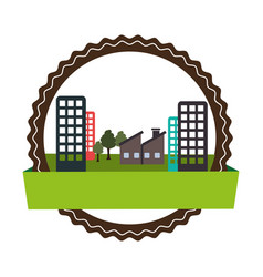 circular landscape with ecology city vector image