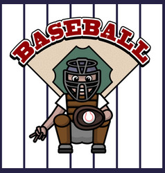 baseball player caught in the ball vector image vector image