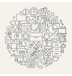 Business Office Line Icons Set Circle Shape vector image
