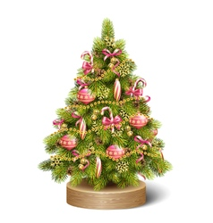 Festive decoration christmas tree pine on wooden vector