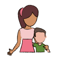 mother hugging son together vector image vector image