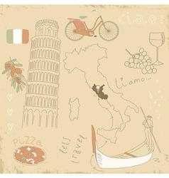 set of Italy symbols vector image