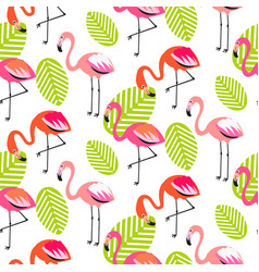 summer flamingo and leaves seamless pattern vector image vector image