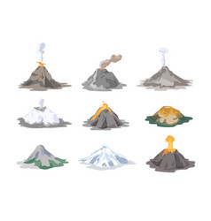 collection of inactive and active volcanoes vector image vector image