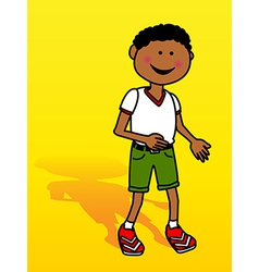 Little black boy over yellow vector image