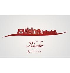 Rhodes skyline in red vector image vector image