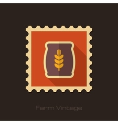 Sack of grain retro flat stamp with long shadow vector image vector image