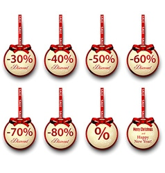 Sale labels with red gift bows vector image
