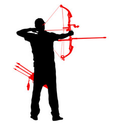 silhouette attractive male archer bending a bow vector image
