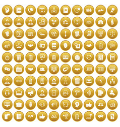 100 discussion icons set gold vector image