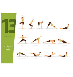13 yoga poses for weight loss vector image