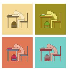 Assembly flat icons student sleeping at the desk vector