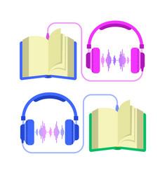 audiobook and headphones flat vector image
