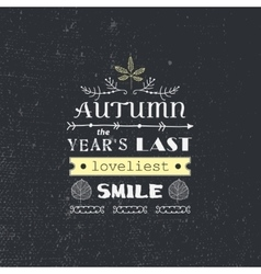 autumn quote poster with hand drawn vector image