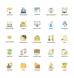 Banking and finance flat icons vector