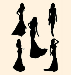 beautiful women silhouette vector image