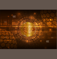 Bitcoin digital currency with circuit abstract vector