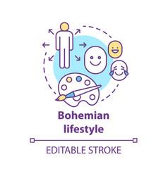 Bohemian lifestyle concept icon unconventional vector