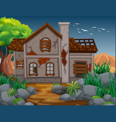 Brick house in the field vector