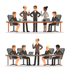 Business character at the table in conference hall vector