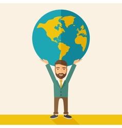 Businessman carrying big globe vector