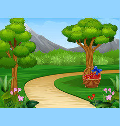 Cartoon of beautiful garden background with dirt r vector
