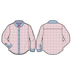 checkered long-sleeve casual shirt vector image