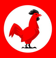 chicken emblem stylized red cock vector image