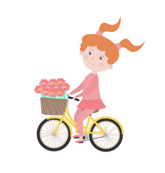 child character girl rides a bicycle vector image