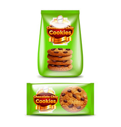 chocolate chip cookies packaging 3d realistic vector image