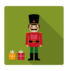 Christmas card with a nutcracker vector