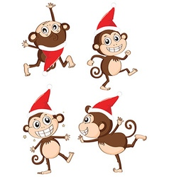 Christmas theme with monkeys wearing christmas hat vector