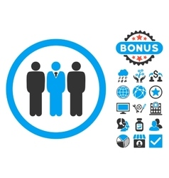 Clerk Staff Flat Icon with Bonus vector