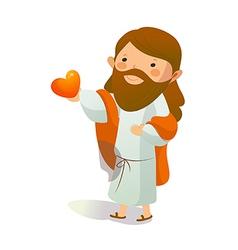 Close-up jesus christ holding heart shape vector