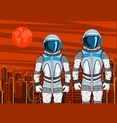 cosmonaut on mars planet surface in pop art style vector image