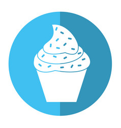 Cupcake sweet dessert shadow vector
