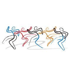 dancing group disco modern dance vector image