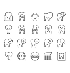 Dental flat thin line icons set vector