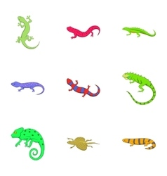 Different kind of lizards icons set cartoon style vector