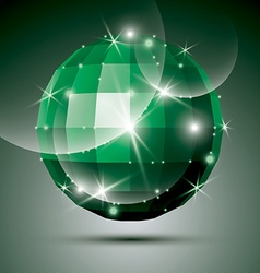 Dimensional green sparkling disco ball created vector image