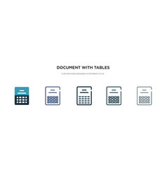 Document with tables icon in different style two vector