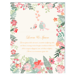 elegant spring flower and birds wedding card vector image