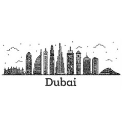 engraved dubai uae city skyline with modern vector image