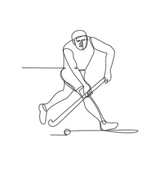 field hockey player continuous line vector image