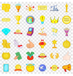 first place icons set cartoon style vector image