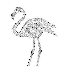 flamingo standing from abstract futuristic vector image