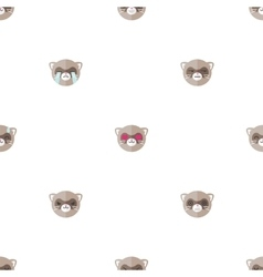 Flat cartoon ferret heads with different vector