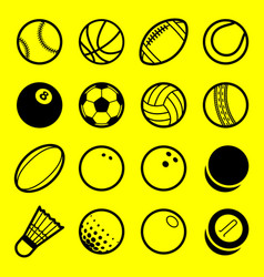 Flat line art play sport balls logo icon isolated vector
