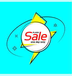 Flat style flash shape banner price tag sale vector