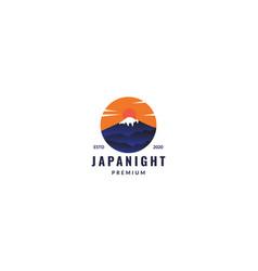 Fuji mountain japan and sunset circle logo design vector
